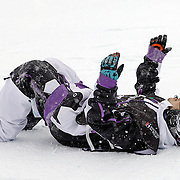 SHOT 12/18/10 11:24:23 AM - Simon Dumont of Bethel, Maine wonders what happened while laying on his back at the bottom of the superpipe after falling at the very end of his first run during the Supeprpipe Finals at the Nike 6.0 Open stop of the Winter Dew Tour at Breckenridge Ski Resort in Breckenridge, Co. Dumont would go on to win the event with a score of 94.50 on a stellar second run. The event features ski and snowboard slopestyle and superpipe. (Photo by Marc Piscotty / © 2010)