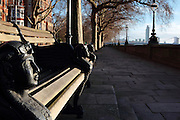 Benches along Chelsea Embankment are adorned with Harpies.