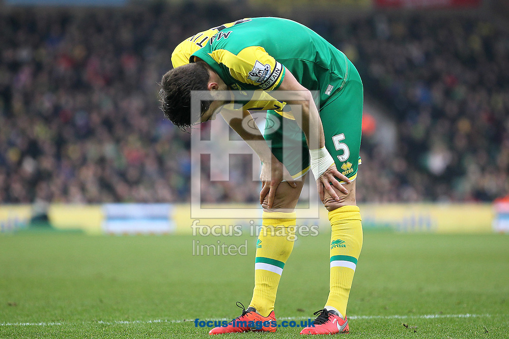 Russell Martin of Norwich during the Barclays Premier League match at Carrow Road, Norwich<br /> Picture by Paul Chesterton/Focus Images Ltd +44 7904 640267<br /> 13/02/2016