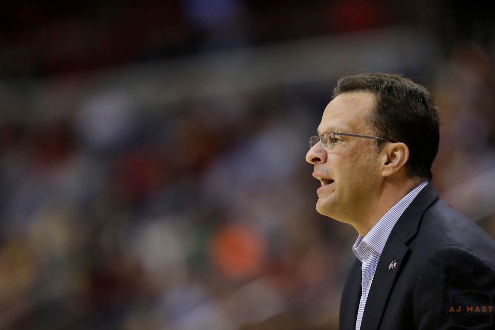 Indiana head coach Tom Crean in action as Indiana played Iowa in an NCCA college basketball game in the second tournament in Washington, D.C., Thursday, March 9, 2017. (Photo by AJ Mast)