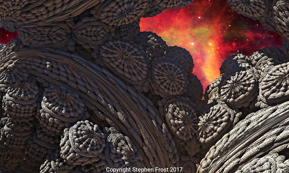 A digital representation, using fractals, of a hidden fossilised cave, or strange architecture, under an alien sky.