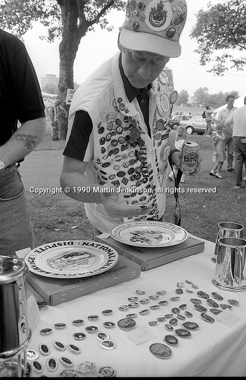 Justice for Mineworkers stall raising funds for victimised miners. 1990 Yorkshire Miner's Gala. Rotherham.