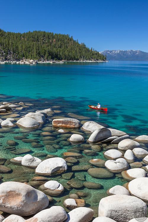 """Canoe on Lake Tahoe"" - The canoe was photographed on the East shore of Lake Tahoe."