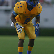 Gold linebacker Jamar Baynard (8) of Middletown High School lines up at line of scrimmage in the first quarter of the 58th Annual DFRC Blue-Gold All?Star Football game Saturday, June. 22, 2013, at Delaware Stadium in Newark DE.