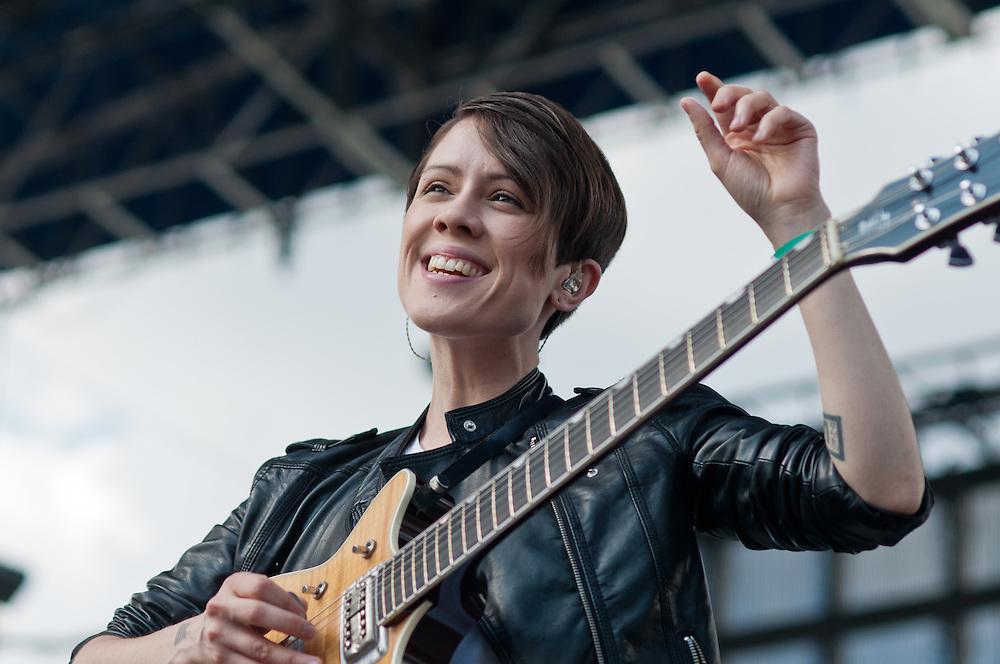 Sara Quin of Tegan and Sara performs at Bunbury Music Festival at Yeatman's Cove in Cincinnati, Ohio on July 12, 2013.