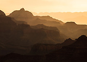 Early moring light at Grand Canyon National Park on a dusty and hazy day.