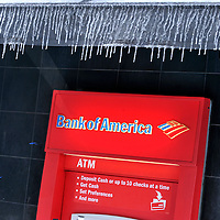 Icicles framed a Bank of America ATM.