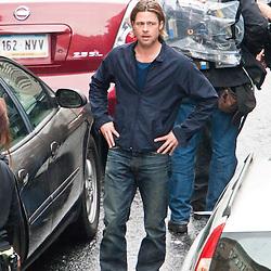 Brad Pitt films World War Z, day two.