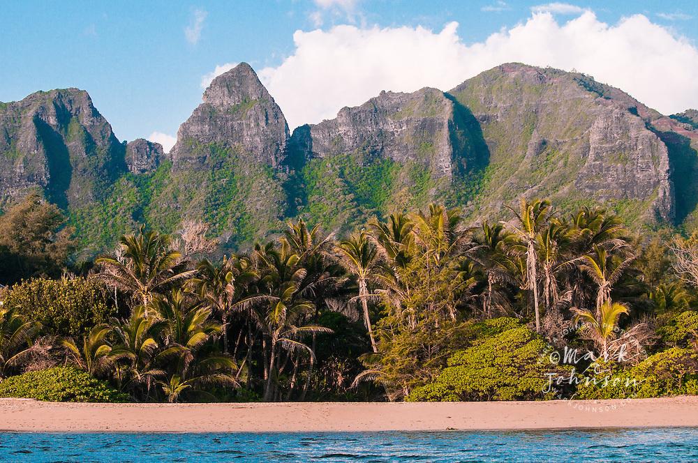 Aliomanu Beach & Anahola Mountains, Kauai, Hawaii