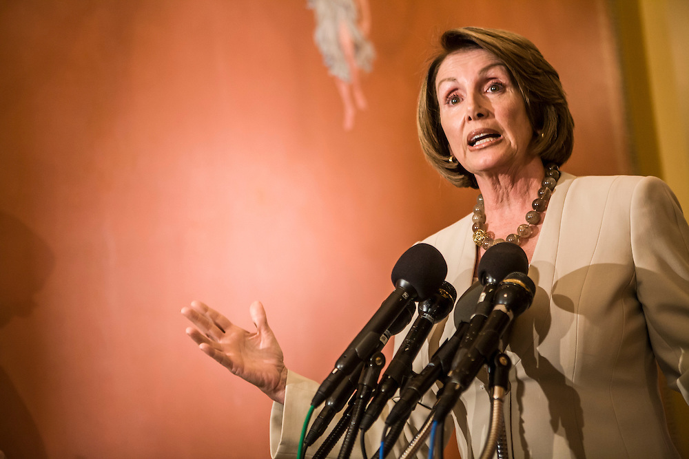 House Speaker Nancy Pelosi (D-CA) speaks at a news conference regarding the government bailout of AIG and her meeting with auto industry executives on Capitol Hill on Wednesday, September 17, 2008 in Washington, DC.  Brendan Hoffman for the New York Times