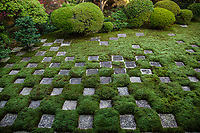 Northern Garden, Tofukuji Temple.  Square cut stones and moss are distributed in a chequered pattern at this unique, modern Japanese garden. Modern in its style and composition, the garden was created by Shigenori Mirei, master of modern Japanese gardening.