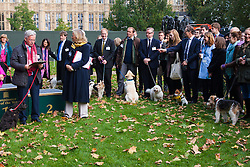 London, October 23rd 2014. Organised by the Dogs Trust and the Kennel Club, politicians  and their pooches gather outside Parliament for the 22nd Westminster Dog of the Year competition, aimed at raising awareness of dog welfare in the UK where the Dogs Trust cares for over 16,000 stray and abandoned dogs annually. PICTURED: Competitors and their owners wait for the winner to be announced by 2013 winner Rt Hon Sir Alan Duncan MP, (left) and his dog Noodle.
