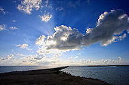 Rays radiating over the causeway to Cayo Santa Maria, Villa Clara Province, Cuba.