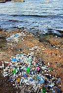 Plastic pollution in Playas del Este, Havana, Cuba.