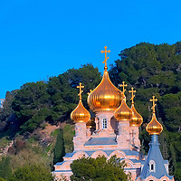 The Russian Orthodox church of Mary Magdalene at the mount Olives in Jerusalem , Israel
