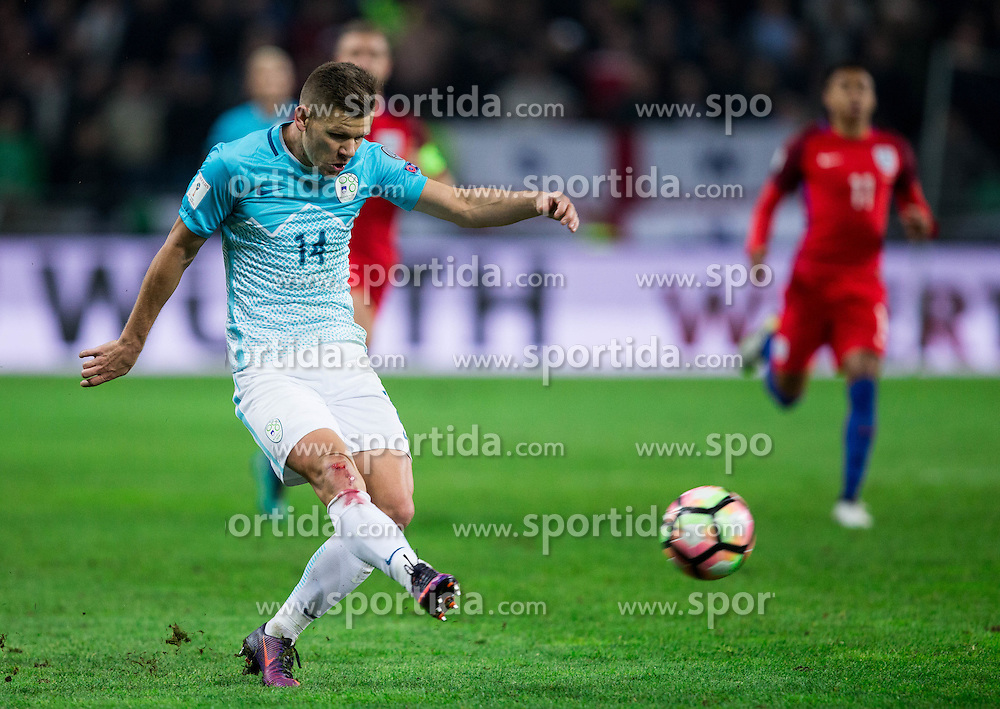 Roman Bezjak of Slovenia during football match between National teams of Slovenia and England in Round #3 of FIFA World Cup Russia 2018 Qualifier Group F, on October 11, 2016 in SRC Stozice, Ljubljana, Slovenia. Photo by Vid Ponikvar / Sportida