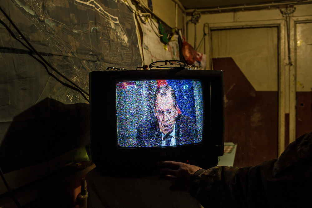 A television shows an image of Russian Foreign Minister Sergey Lavrov at a base of the pro-Ukrainian Dnipro-1 battalion known as The Bridge near ongoing battles for the town of Pisky on March 19, 2015 in Pervomaiske, Ukraine.
