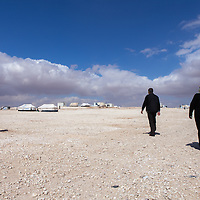Za'atari camp houses over a 100.000 Syrian refugees, making it the fourth largest city in Jordan.