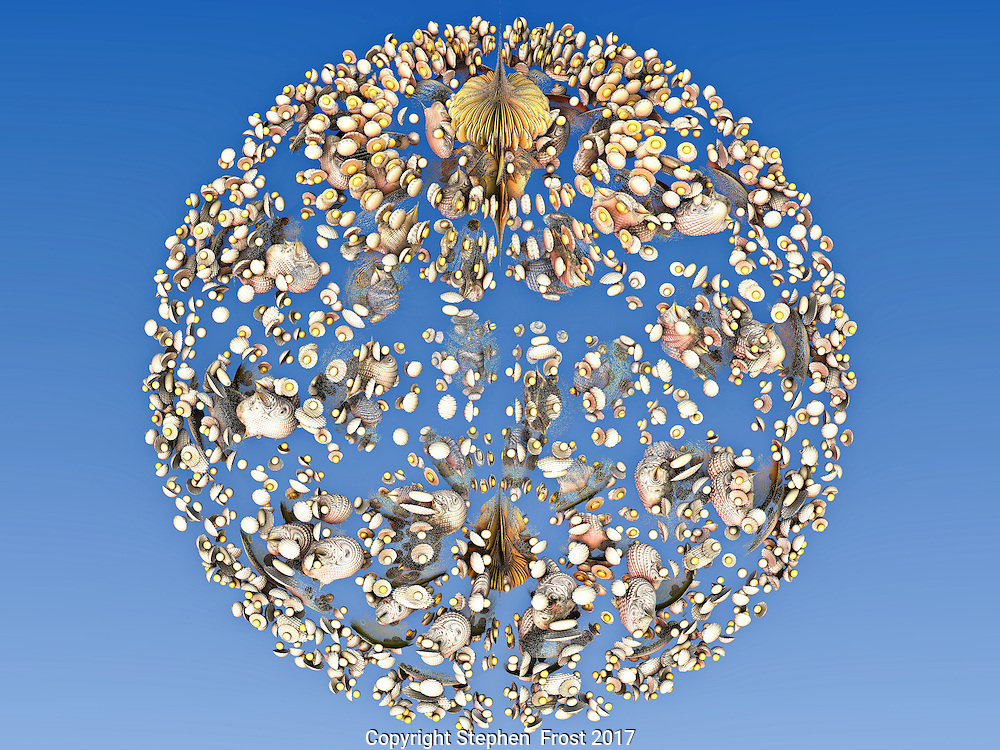 A digital fractal image of a sphere comprised of shells and sand, reflecting the fragility of the planet`s oceans.  However this equally could be jewellery.