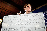 GOP Presidential candidate Rep. Michele Bachmann speaks about the national debt at a town hall event in Muscatine, Iowa, July 24, 2011.