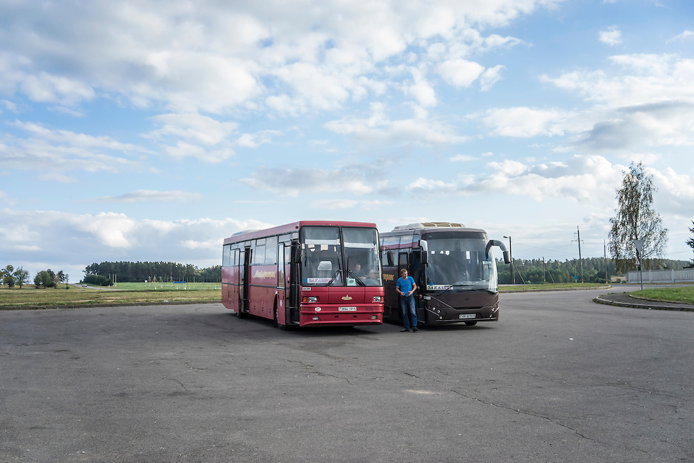 Tourist buses parked near Mir Castle on Friday, September 16, 2016 in Mir, Belarus.