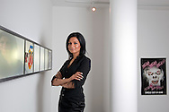 Anjula Acharia-Bath, co-founder and head of DesiHits.com in the reception of her offices in West Kesington, London, UK.
