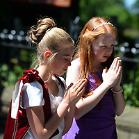 Picture Shows Mia Currie and her attendants Phoebe Williams (Red Hair) and Amy and Emily Chapmam from Charnock Richard  who was crowned Rose Queen during the annual Walking day parade held at Charnock Richard in Chorley Lancs<br />