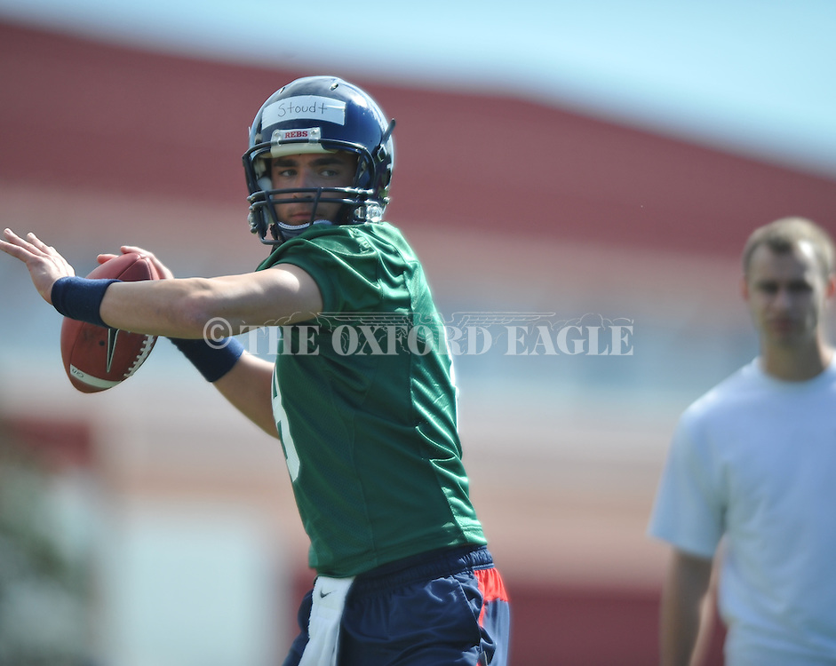 Quarterback Zach Stoudt goes through a drill as Mississippi began spring practice in Oxford, Miss. on Friday, March 23, 2012. (AP Photo/Oxford Eagle, Bruce Newman)