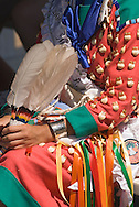Traditional dancer, Crow Fair, powwow, feather fan, elk ivory, Crow Indian Reservation, Montana