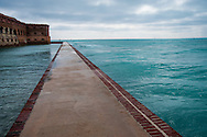 Perimeter walkway around Fort Jefferson in Dry Tortugas National Park at the southern end of the Florida Keys. Built from 1846-1875 the Fort was planned as a resupply and defense post for the American south.