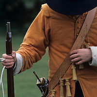 USA, Maryland, (MR) Soldier in period costume at 17th Century battle reenactment at Saint Mary's City