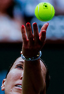 Jelena Jankovic of Serbia in action against Simona Halep of Romania during the women singles final of the BNP Paribas Open tennis tournament on Sunday, March 22, 2015 in Indian Wells, California. Halep won 2-6, 7-5, 6-4.