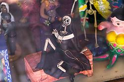 Dead nun smoking a cigarette on Olvera Street in LA.