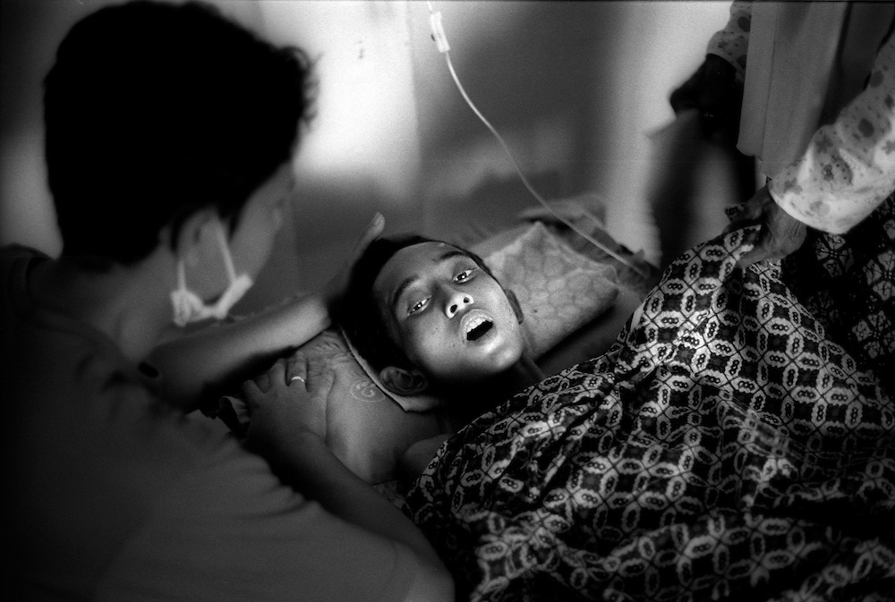17 year old Teuku Sofyan was alleged to have survived 8 days in the wreck of a boat washed up in Banda Aceh by the Tsunami that struck on December 26, 2004, killing many thousands of people. Kesdam Hospital, Banda Aceh January 2005