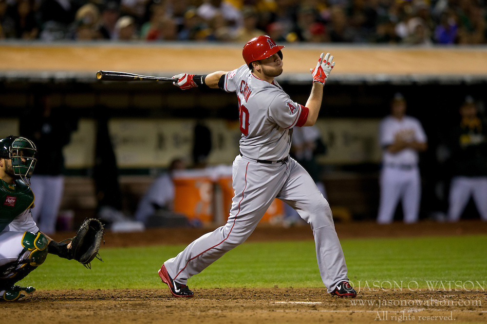 OAKLAND, CA - SEPTEMBER 23:  C.J. Cron #20 of the Los Angeles Angels of Anaheim at bat against the Oakland Athletics during the fifth inning at O.co Coliseum on September 23, 2014 in Oakland, California. The Los Angeles Angels of Anaheim defeated the Oakland Athletics 2-0.  (Photo by Jason O. Watson/Getty Images) *** Local Caption *** C.J. Cron