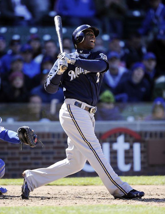 CHICAGO - APRIL  11:  Nyjer Morgan #2 of the Milwaukee Brewers bats against the Chicago Cubs on April 11, 2012 at Wrigley Field in Chicago, Illinois.  The Brewers defeated the Cubs 2-1.  (Photo by Ron Vesely)   Subject:  Nyjer Morgan