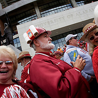 TUSCALOOSA, AL -- October, 24, 2009 -- University of Alabama fan Doug Rice of West Jefferson, Ala., sports rolls and Tide on his helmet prior to the Crimson Tide's 12-10 victory over the University of Tennessee Volunteers at Bryant-Denny Stadium in Tuscaloosa, Ala., Saturday, Oct. 24, 2009.