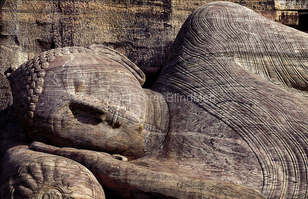 The rock sculpture of the reclining Buddha at Gal Vihara, Polonnaruwa, a UNESCO World Heritage Site