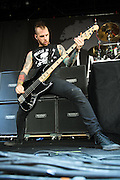performing at Mayhem Fest 2012 at Verizon Wireless Amphitheater in St. Louis, Missouri on July 20, 2012.