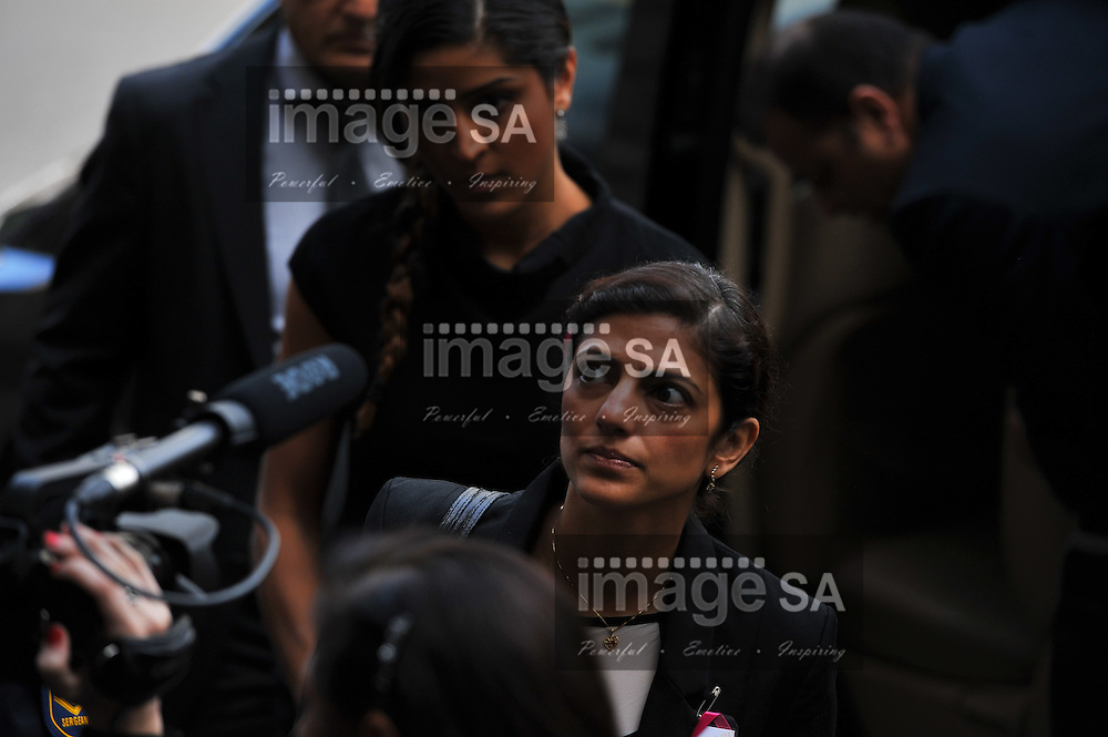 CAPE TOWN, SOUTH AFRICA - Monday 13 October 2014, Ami Denborg, sister of Anni Hindocha, arrives at court during Day 4 of the Shrien Dewani trial at the Cape High Court before Judge Jeanette Traverso. Dewani is caused of hiring hit men to murder his wife, Anni. Anni Ninna Dewani (n&eacute;e Hindocha; 12 March 1982 &ndash; 13 November 2010) was a Swedish woman who, while on her honeymoon in South Africa, was kidnapped and then murdered in Gugulethu township near Cape Town on 13 November 2010 (wikipedia).<br /> Photo by Roger Sedres