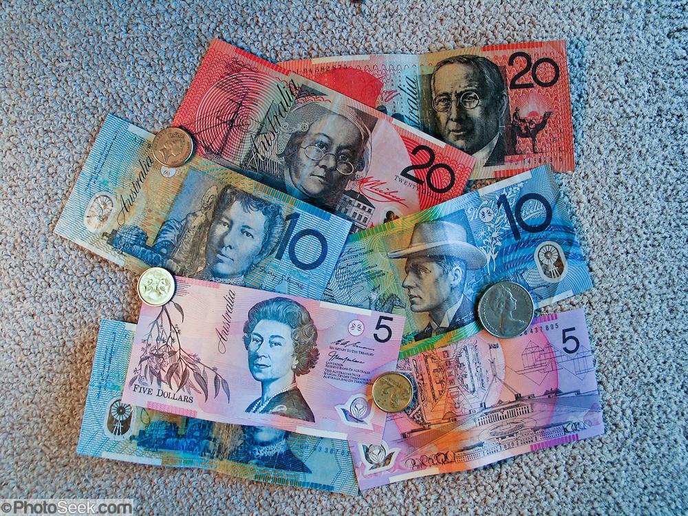 Australian money: five, ten, twenty dollar bills. 5, 10, 20, circa 2004.