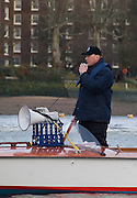Putney, London.  Pre Varsity Boat race fixture. Sir Matthew PINSENT, Umpire, prepares the crews for the Start. Cambridge UBC. vs GBR U23 crew raced over parts of the Championship Course, [Putney to Mortlake].  Race divided into two trials. 1. Start to Hammersmith Pier. 2. Chiswick Eyot to Finish. River Thames. Saturday   26/02/2011 [Mandatory Credit -Karon Phillips/Intersport Images]..
