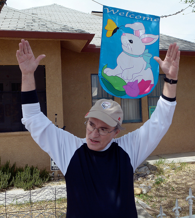 gbs041017m/LIFE -- Jeff Hatzer puts out a bunny banner for people who call and tour of his Bunnytown on Monday, April 10, 2017. (Greg Sorber/Albuquerque Journal)