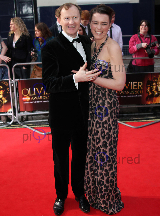 Mark Gatiss; Olivia Williams The Olivier Awards 2011, Theatre Royal Drury Lane, London, UK, 13 March 2011:  Contact: Ian@Piqtured.com +44(0)791 626 2580 (Picture by Richard Goldschmidt)