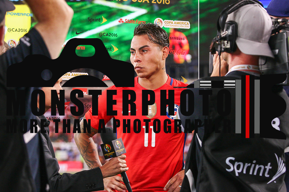 Chile Attacker EDUARDO VARGAS (11) interviews with media after a Copa America Centenario Group D match between the Chile and Panama Tuesday, June. 14, 2016 at Lincoln Financial Field in Philadelphia, PA.