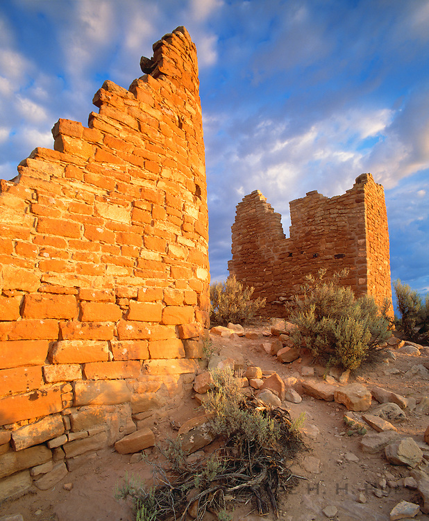 0308-1005 ~ Copyright: George H. H. Huey ~ Hovenweep Castle, with distinctive D-shaped tower. Anasazi culture, constructed ca. A.D. 1200. Likely astronomical observatory. Hovenweep National Monument, Utah.