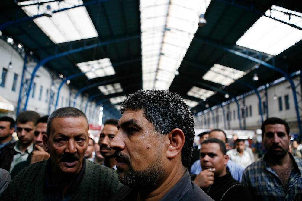Egyptian train drivers demonstrate at a the central train station near Ramses Square in Cairo.