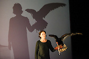 © Tony Nandi. 06/05/2014. The Testament of Mary, performed by Fiona Shaw, Directed by Deborah Warner, at the Barbican Theatre, London. Also featuring Inti the Turkey Vulture. Photo credit: Tony Nandi