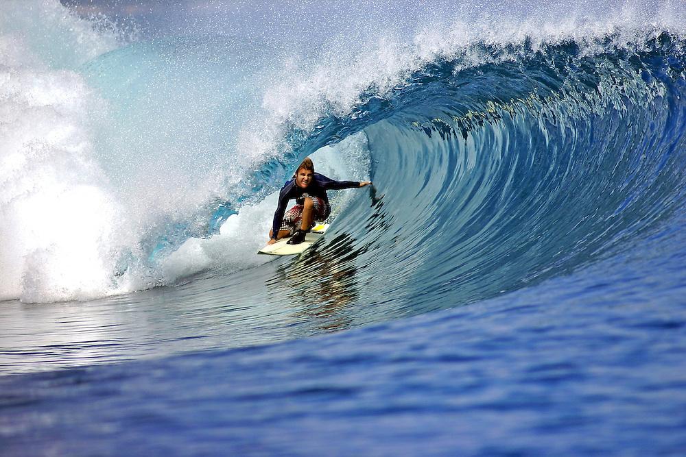 Chris Webb surfing deep in the barrel on Panaitan Island in West Java.