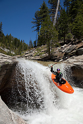 """Kayaker on Silver Creek 16"" - This kayaker was photographed on Silver Creek - South Fork, near Icehouse Reservoir, CA."